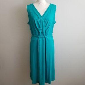 Talbots Petites turquoise faux wrap dress Sz 2XP